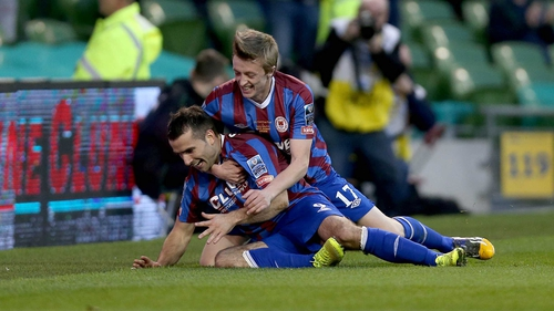 Christy Fagan (l) celebrates his first goal in the FAI Cup final
