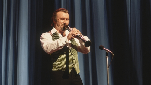 Acker Bilk in his traditional outfit of shirt sleeves and striped waistcoat  at a Royal Variety Performance in 1981