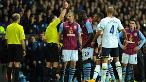Christian Benteke was sent off for the second time in his Villa career after he pushed Ryan Mason in the face