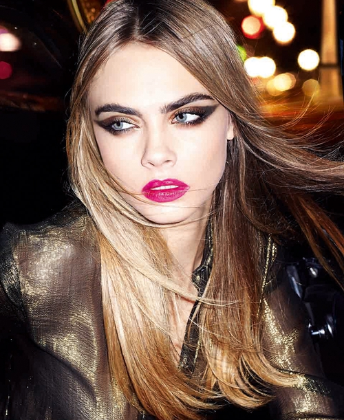 Cara Delevingne modelling YSL's Christmas collection
