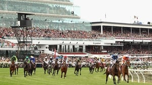 Ryan Moore  (2r) riding Protectionist crosses the line to win the Melbourne Cup