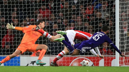 Anderlecht's Aleksandar Mitrovic scores his side's third goal