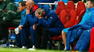 Arsene Wenger reacts on the bench as a 3-0 Arsenal lead is lost