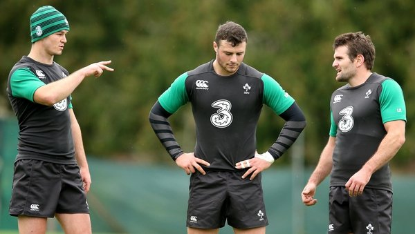 Jonathan Sexton, Robbie Henshaw and Jared Payne form a new combination in Ireland's midfield