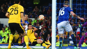 Leon Osman's shot heads towards goal for the opener