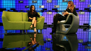 Actress and activist Eva Longoria in conversation with Jemima Khan on the centre stage at the summit