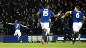 Leon Osman celebrates his strike as Everton beat Lille 3-0 at Goodison Park
