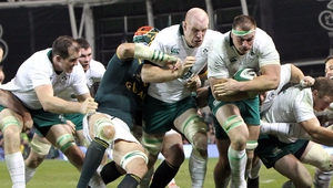 Paul O'Connell helps Rhys Ruddock burst through for the try that put Ireland ahead