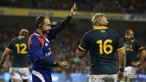 A key moment: referee Romain Poite sends Adriaan Strauss to the sin bin for hitting Rob Kearney in the air