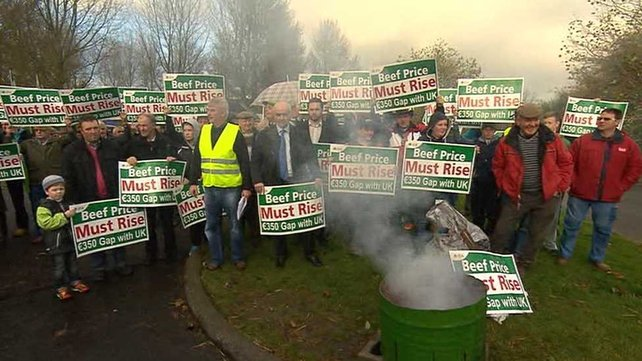 The IFA is staging protests outside 14 of the 29 meat factories across the country