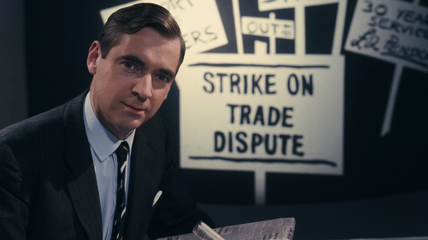 Mr Farrell pictured with strike posters, circa 1970