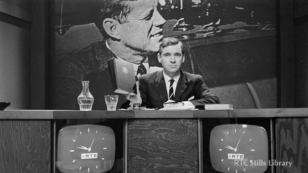 Brian Farrell presents RTÉ discussion programme (1967)