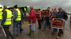 Farmers protested outside 14 meat factories around the country