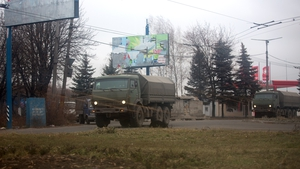 Unmarked military vehicles in eastern Ukraine yesterday