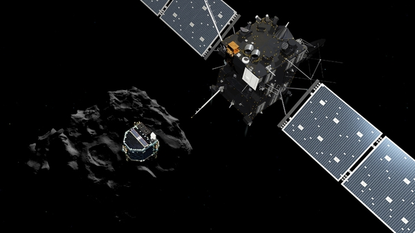 An ESA illustration of the Philae lander (centre) descending onto the comet after a successful separation from the Rosetta probe