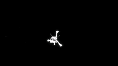 Philae pictured making its descent to the comet last November