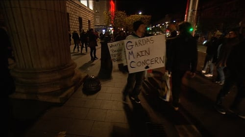 Anti-water charge protesters gathered outside the GPO