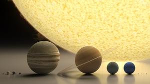 L-R: Mercury, Venus, Earth and the Moon, Mars, Jupiter, Saturn, Uranus, Neptune and dwarf planets, Pluto, Haumea, Makemake, and Eris