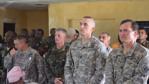 US soldiers attend a ceremony in the new Ebola Treatment Centre in western Liberia