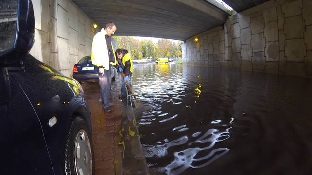 County Council workers tackle flood waters in Lucan (Pic: Terry Healy)