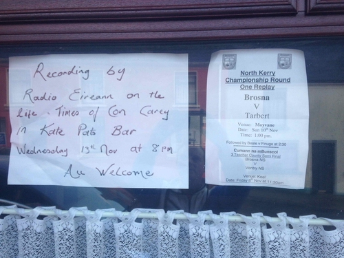 The notice at Kate Pat's for the 'Documentary On One' coming to town