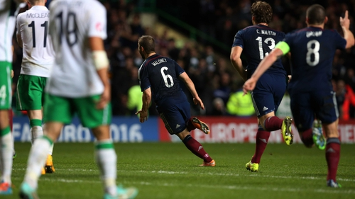 Shaun Maloney celebrates after scoring the only goal of the game at Celtic Park