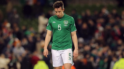 Sean St Ledger after Ireland conceded a last-minute goal to draw with Austria in 2013