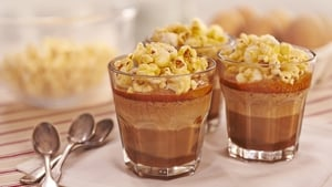 Chocolate Mousse, Caramel Sauce, Toffee Popcorn
