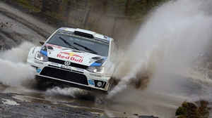 Sebastian Ogier and his co-driver Julien Ingrassia in action during Wales Rally GB