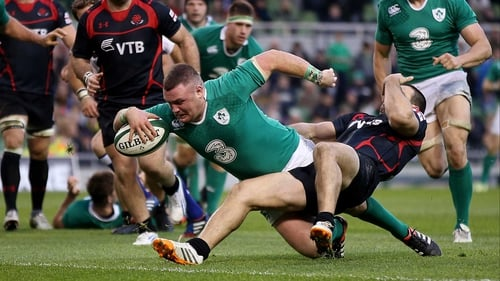 Dave Kilcoyne dives for the line to score Ireland's opening try