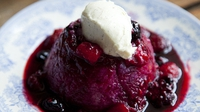 Brioche Fruit Pudding - This little dessert is a wonderful way to use up leftover bread, and in the winter, frozen berries work perfectly as a substitute for the fresh summer fruits.