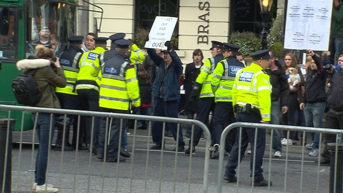 Around 50 protesters gathered outside the Mansion House today