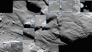The series of photos were captured by the Rosetta satellite's narrow-angle camera