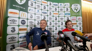 Jurgen Klinsmann and Mix Diskerud at the US press conference at Aviva Stadium