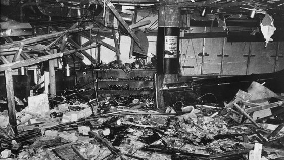 Interior of the Mulberry Bush, Birmingham, after the bombing