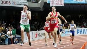 David Gillick en route to winning his first European 400m indoor title