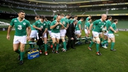 Ireland just after their team photo at the Captain's run at Aviva Stadium