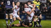 Ulster's Sean Reidy meets resistance from Ospreys' Sam Lewis