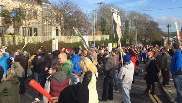 A march took place across Rice Bridge and down the quay