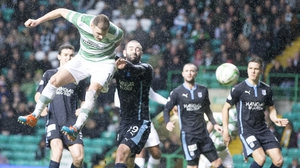 Anthony Stokes headed Celtic into the lead just before half-time