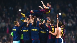 Barcelona give Lionel Messi the bumps after he broke the Primera Division scoring record