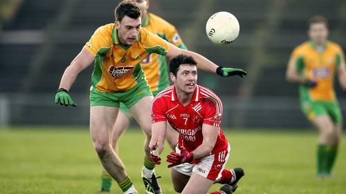 Corofin's Ronan Steede (l) and Ruairdhi O'Connor of Ballintubber