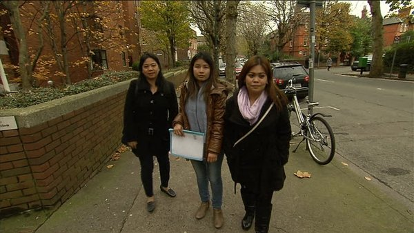 Myra Calderon, Laylanie Lapanga and Jennifer Vilaranda at the Employment Appeals Tribunal in Dublin