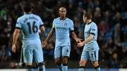 Vincent Kompany reacts angrily after Manchester City concede their second goal