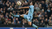 Sergio Aguero controls the ball during the match between Manchester City and Bayern Munich