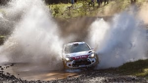 Kris Meeke powers his Citroen through a water crossing on the final day of the WRC Rally of Australia