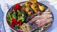 Butterflied Lamb with Yoghurt and Mint - Serve with charred, honey mustard-glazed potatoes.