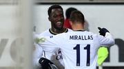 Romeleu Lukaku celebrates scoring Everton's opening goal