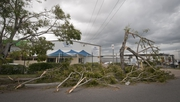 Winds of up to 140km/h tore through the southeast Queensland city