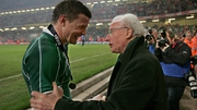 Ireland captain Brian O'Driscoll receives the congratulations of Jack Kyle at the Millennium Stadium in 2009